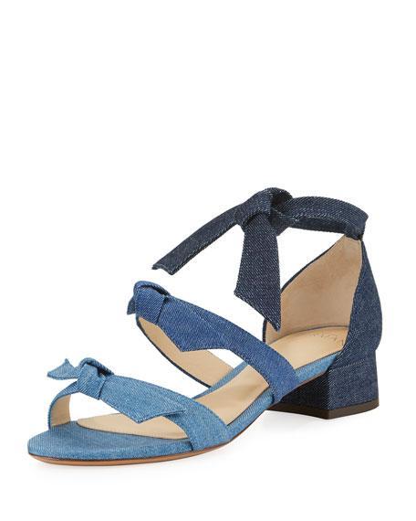 Alexandre Birman Mary Knotted Denim Sandal, Blue