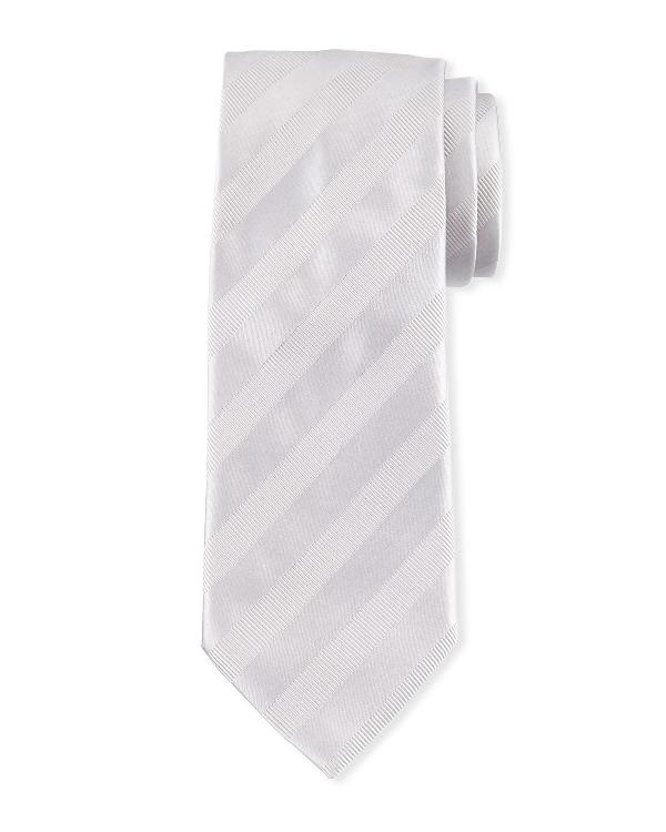 Brioni Textured-stripe Silk Tie In Silver