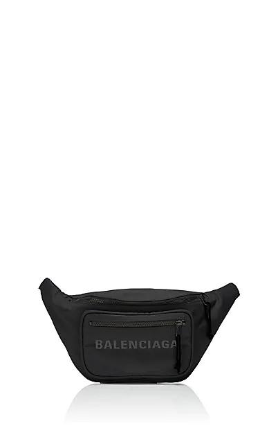 Balenciaga Wheel Canvas Belt Fanny Pack Bag With Logo In Noir