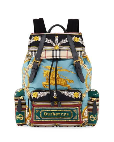 Burberry Men's Archive Scarf-print Rucksack Backpack In Blue