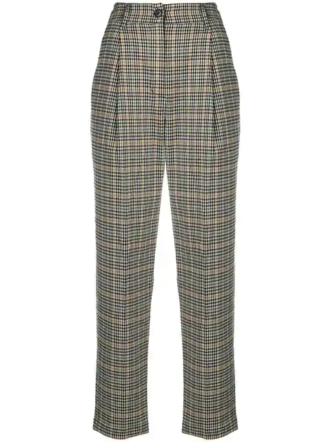 Neul Checkered High-waisted Trousers - Neutrals
