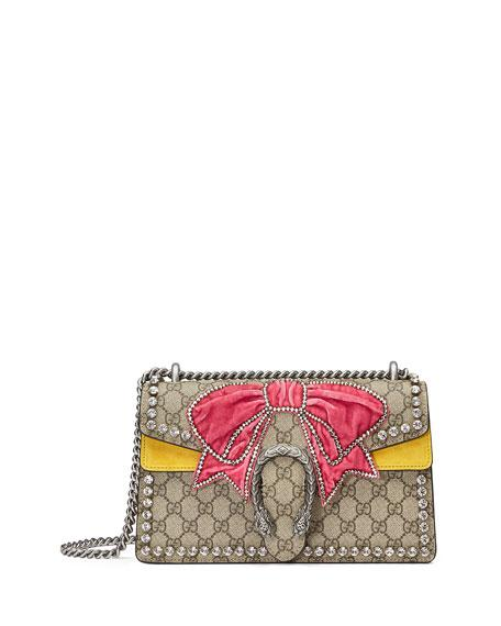 Gucci Dionysus Small Gg Supreme Shoulder Bag With Bow & Crystals In Beige