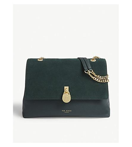 41de9b0495 Ted Baker Hermiaa Suede And Leather Shoulder Bag In Dark Green ...