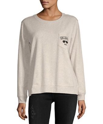 Karl Lagerfeld Paris Sunglasses Pocket Sweatshirt In Nocolor