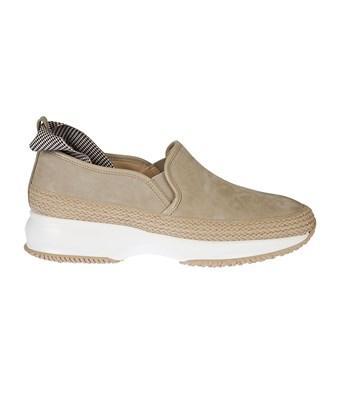 Hogan Women's Hxw00n0ag2064k3668 Beige Faux Leather Slip On Sneakers In Brown