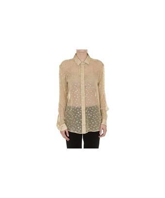 Saint Laurent Women's  Beige/gold Silk Shirt In Brown