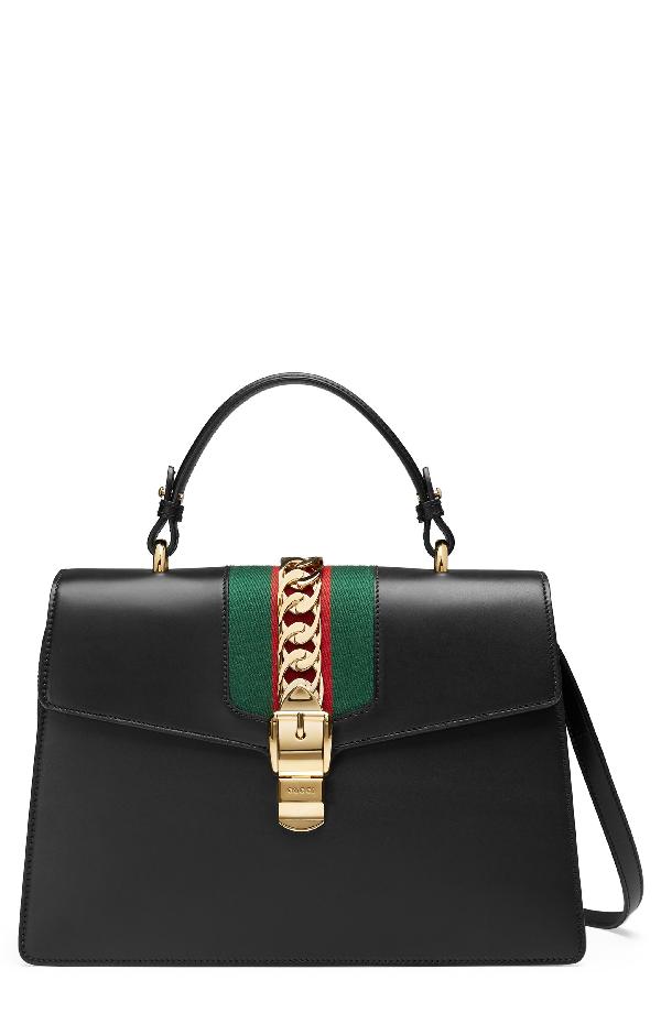 6fb4f0e598fe Gucci Sylvie Top Handle Leather Shoulder Bag - Black In Nero/Vrv ...