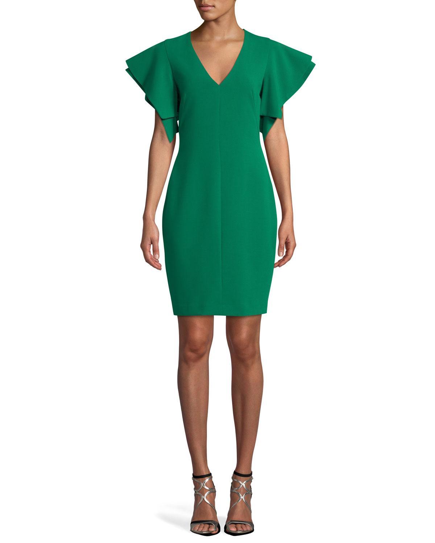 Black Halo Simona Ruffle-sleeve V-neck Dress In Green