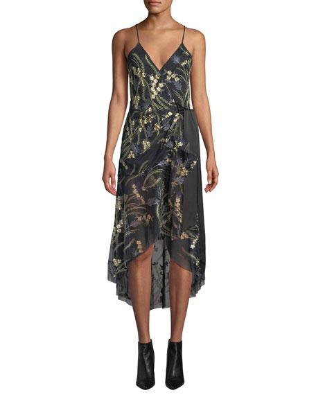Diane Von Furstenberg Narrah Embroidered Floral Sleeveless Wrap Dress In Black Pattern