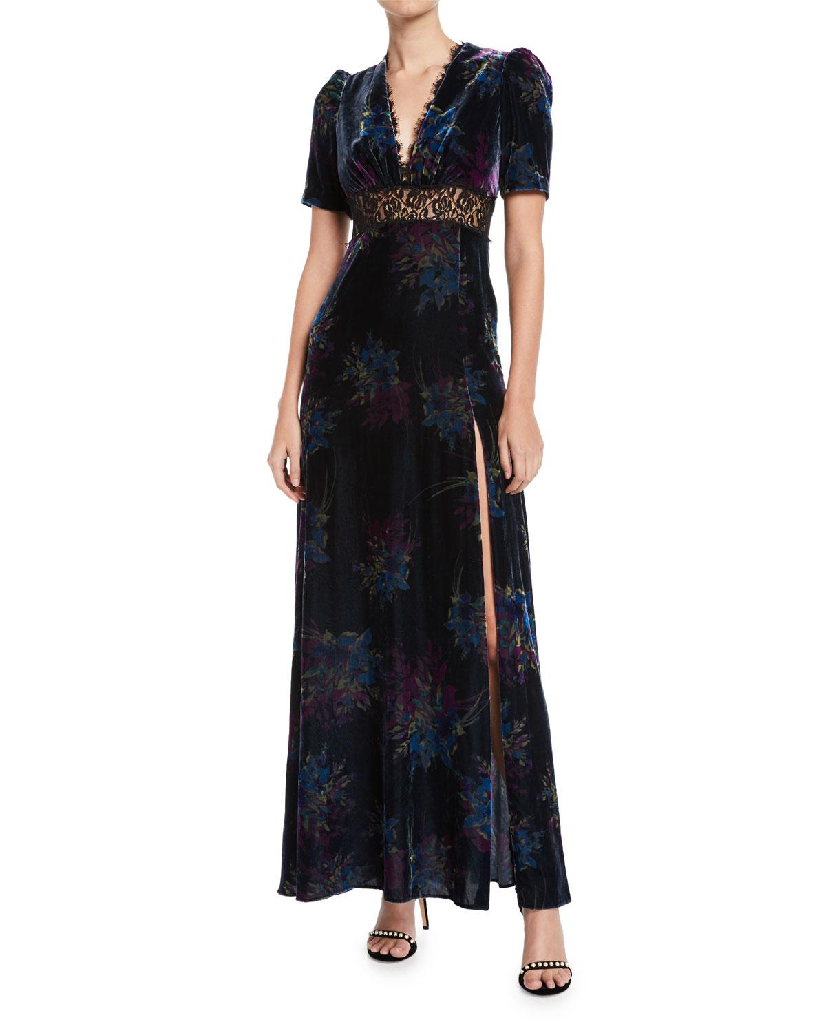 Jill Jill Stuart V-neck Velvet & Lace Gown In Black Multi