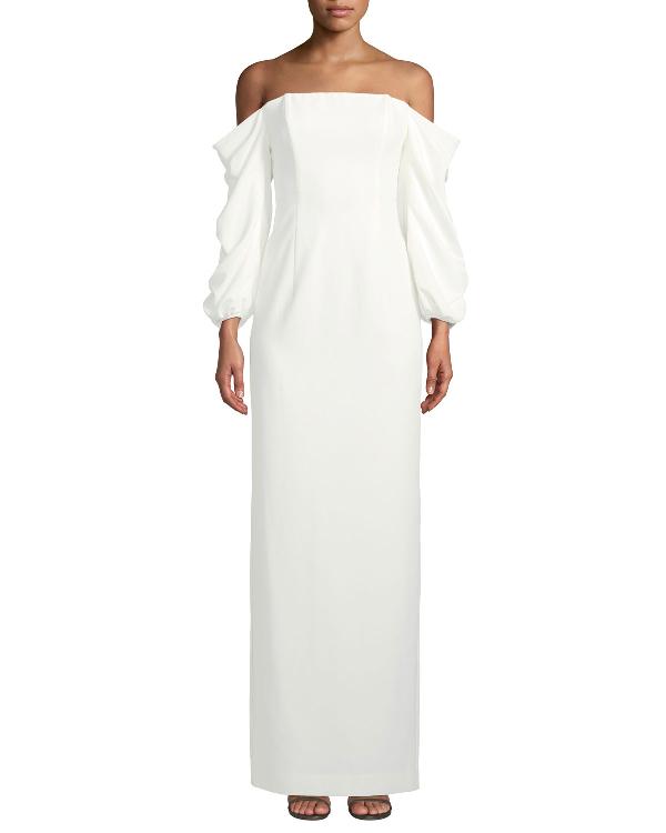 Black Halo Taraji Off-the-shoulder Ruffle-sleeve Gown In Pearl