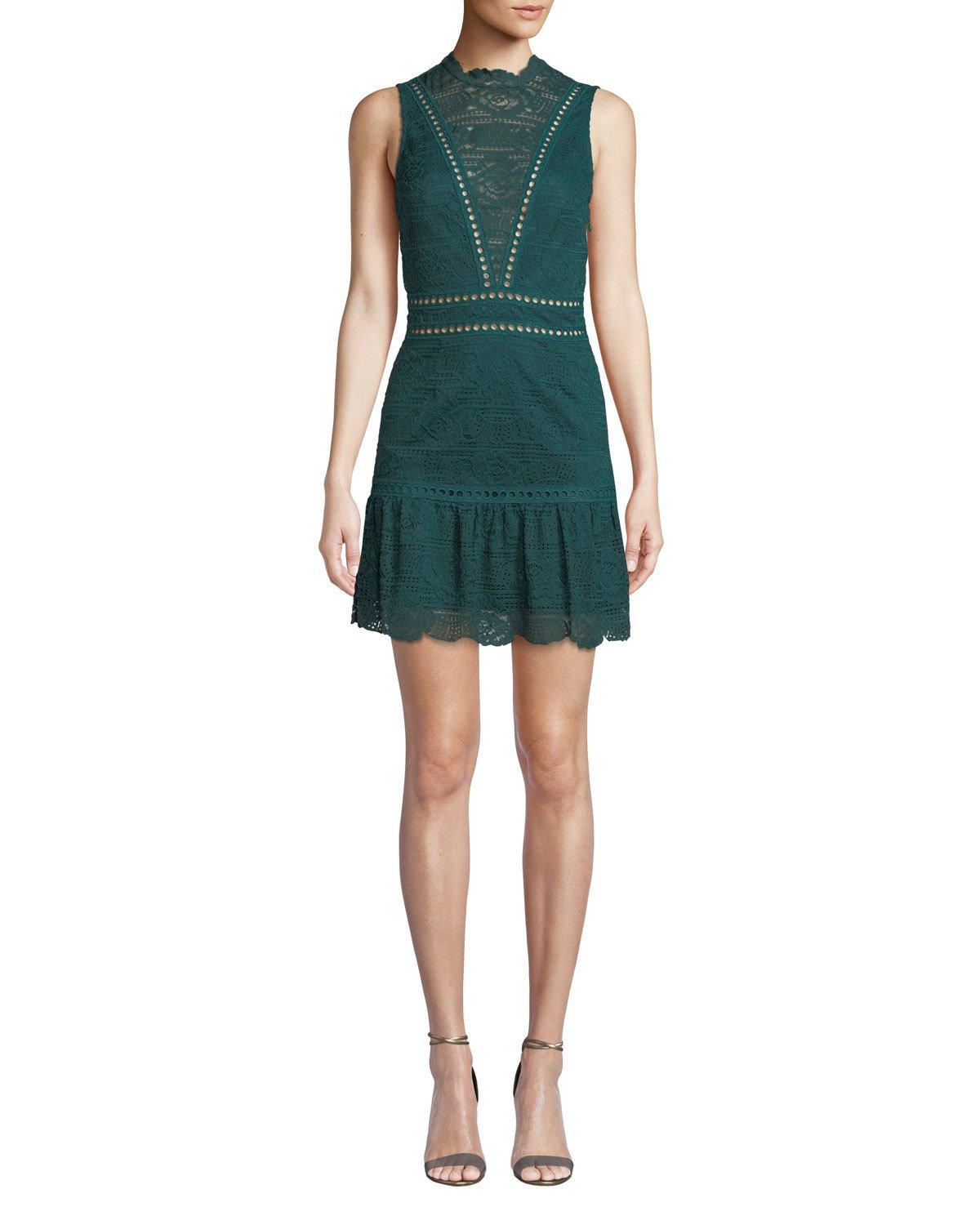 Saylor Rosemary Lace Open-back Mini Dress In Emerald