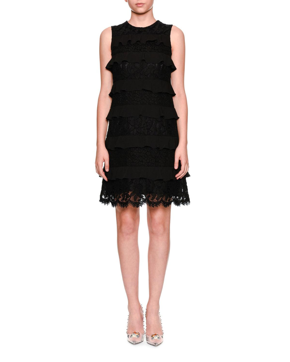 Dolce & Gabbana Sleeveless Tiered Lace Cocktail Shift Dress In Black