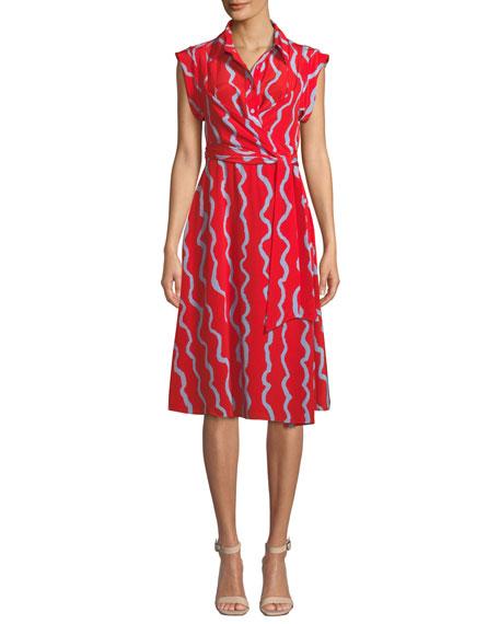 Diane Von Furstenberg Avery Printed Silk Button-front Shirtdress In Red