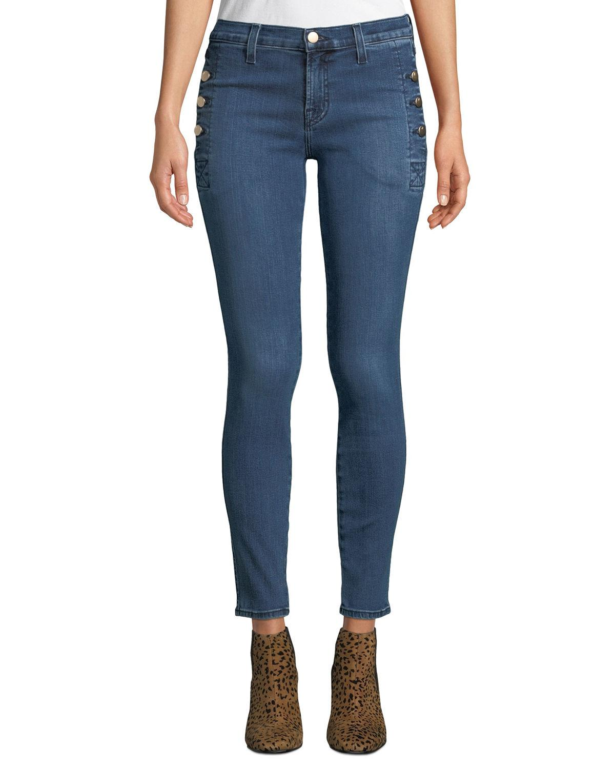 J Brand Zion Mid-rise Skinny W/ Button Pockets In Medium Blue