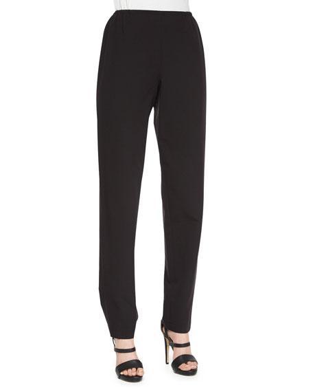 Caroline rose petite travel gabardine slim pants in black modesens for Travel pants petite