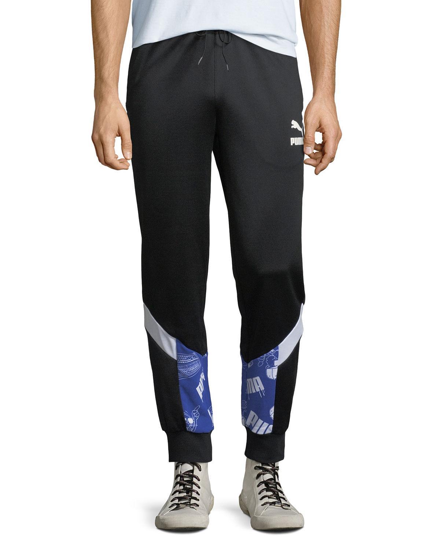 Puma Men's Super Logo Track Pants In Black