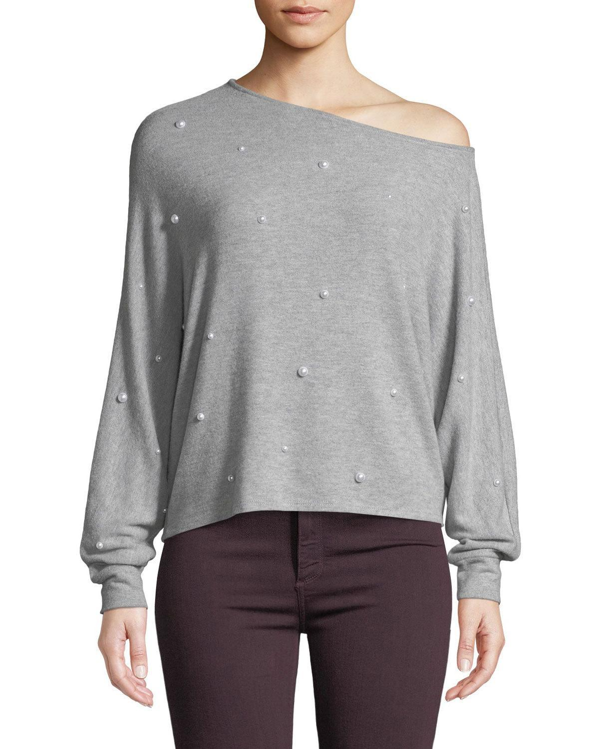 Generation Love Jenny Pearl-studded One-shoulder Long-sleeve Top In Gray