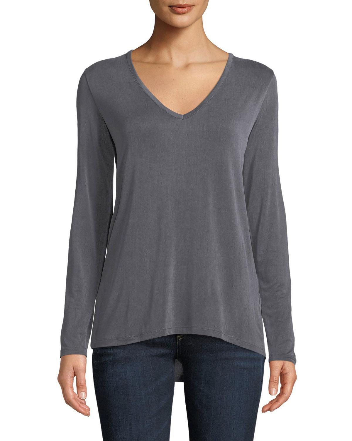 Majestic V-neck Long-sleeve Swing Tee In Charcoal