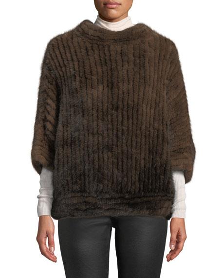 Adrienne Landau Bateau-neck Mink Fur Poncho In Brown