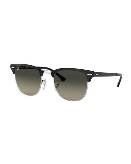 Ray Ban Men's Half-rim Metal Gradient Sunglasses In Gray