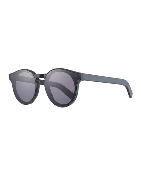 Illesteva Two Point One Round Acetate Sunglasses In Matte Black