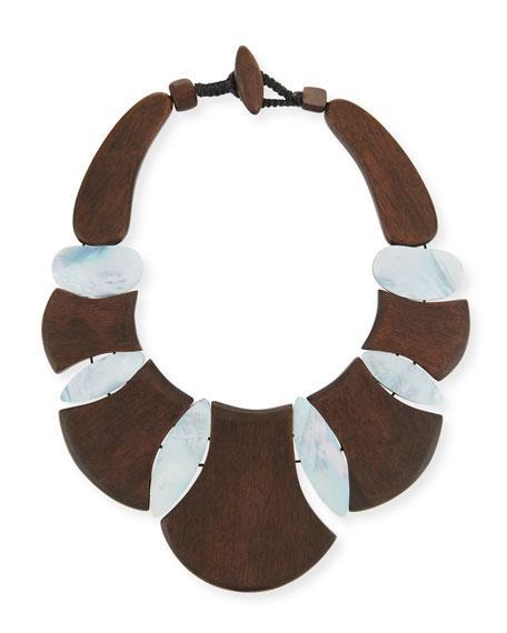 Viktoria Hayman Bellisima Wood Necklace In Brown/white