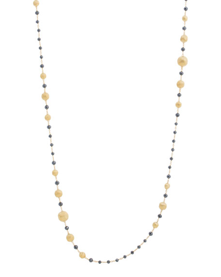 "Marco Bicego 18k Gold Africa Black Diamond Necklace, 36""l"