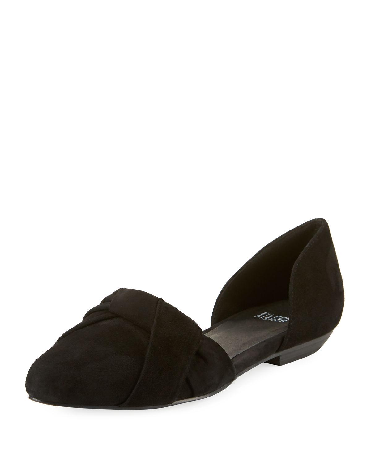 Eileen Fisher Full Suede Two-piece Ballet Flats In Black Suede
