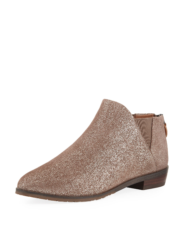 Gentle Souls Neptune Flat Metallic Leather Chelsea Booties In Chocolate