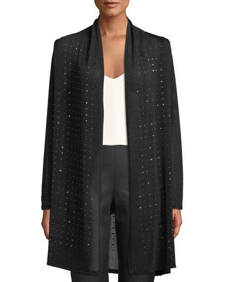Berek Plus Size Sparkle Time Long Cardigan In Black
