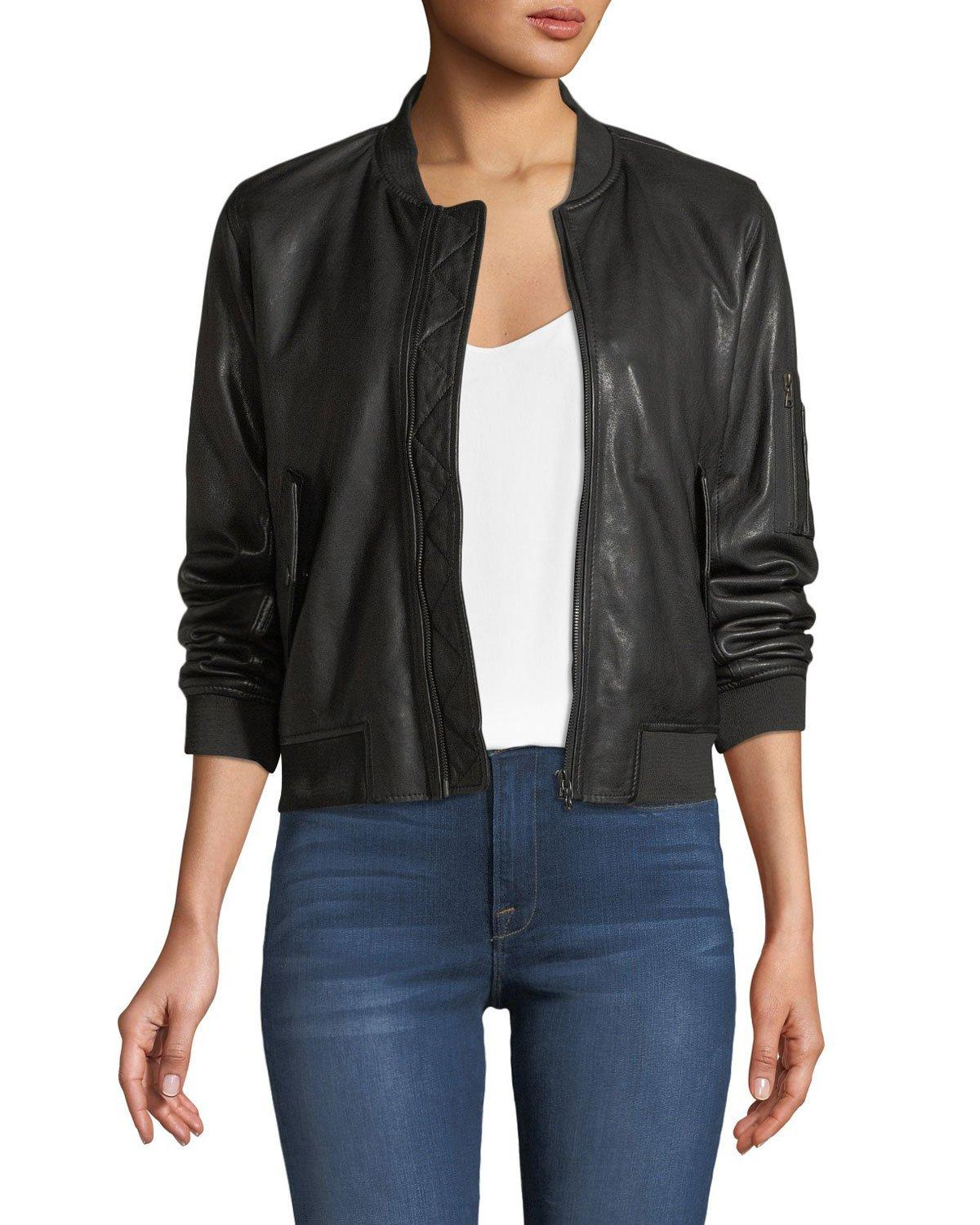 Majestic Zip-front Leather Bomber Jacket In Noir