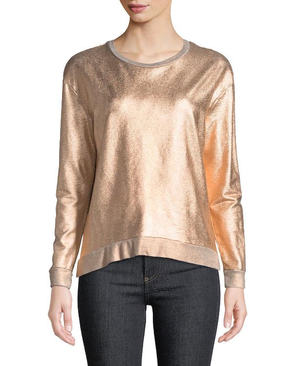 Majestic Long-sleeve Metallic Pullover Sweater In Metal Coppper