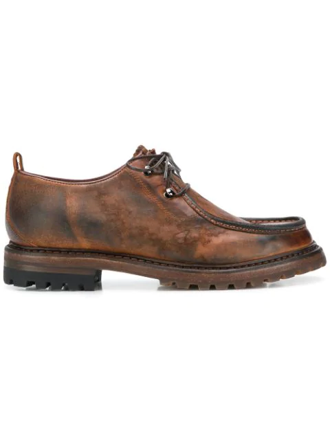 Silvano Sassetti Distressed Lace-up Shoes - Brown
