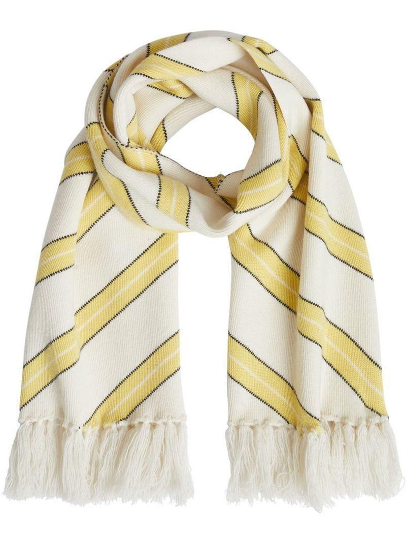 Burberry Tri-tone Striped Wool Cashmere Scarf - White