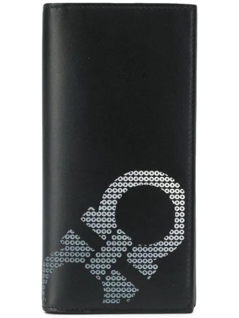 Salvatore Ferragamo Gancio Print Long Wallet In Black
