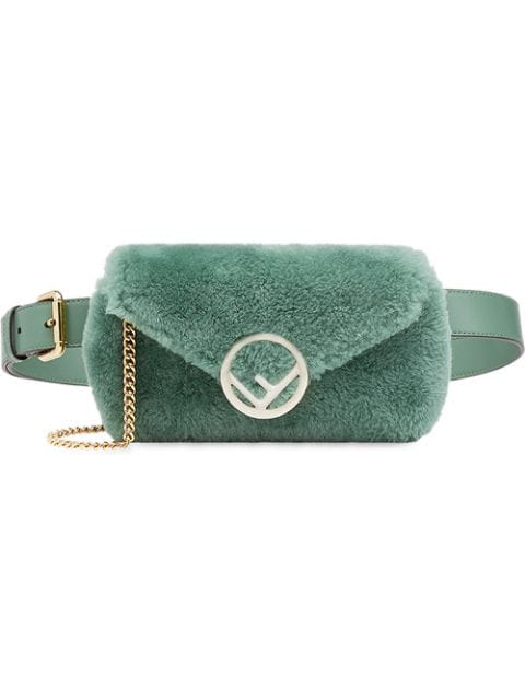 Fendi Shearling Belt Bag In Green