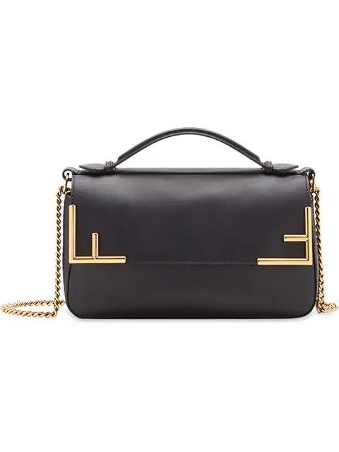 Fendi Double F Shoulder Bag In Black