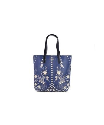 Roberto Cavalli Women's Blue Leather Cream Floral Star Shoppers Tote