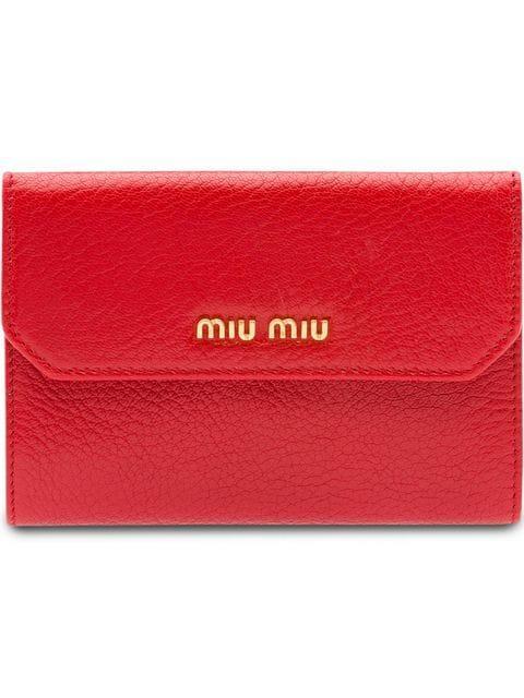 Miu Miu Logo Plaque Wallet In Red