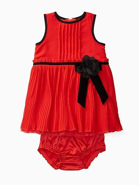 Kate Spade Babies' Pleated Chiffon Dress Set In Studio Red