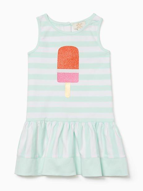 Kate Spade Toddlers Ice Pop Stripe Dress In Fresh Mint/fresh White