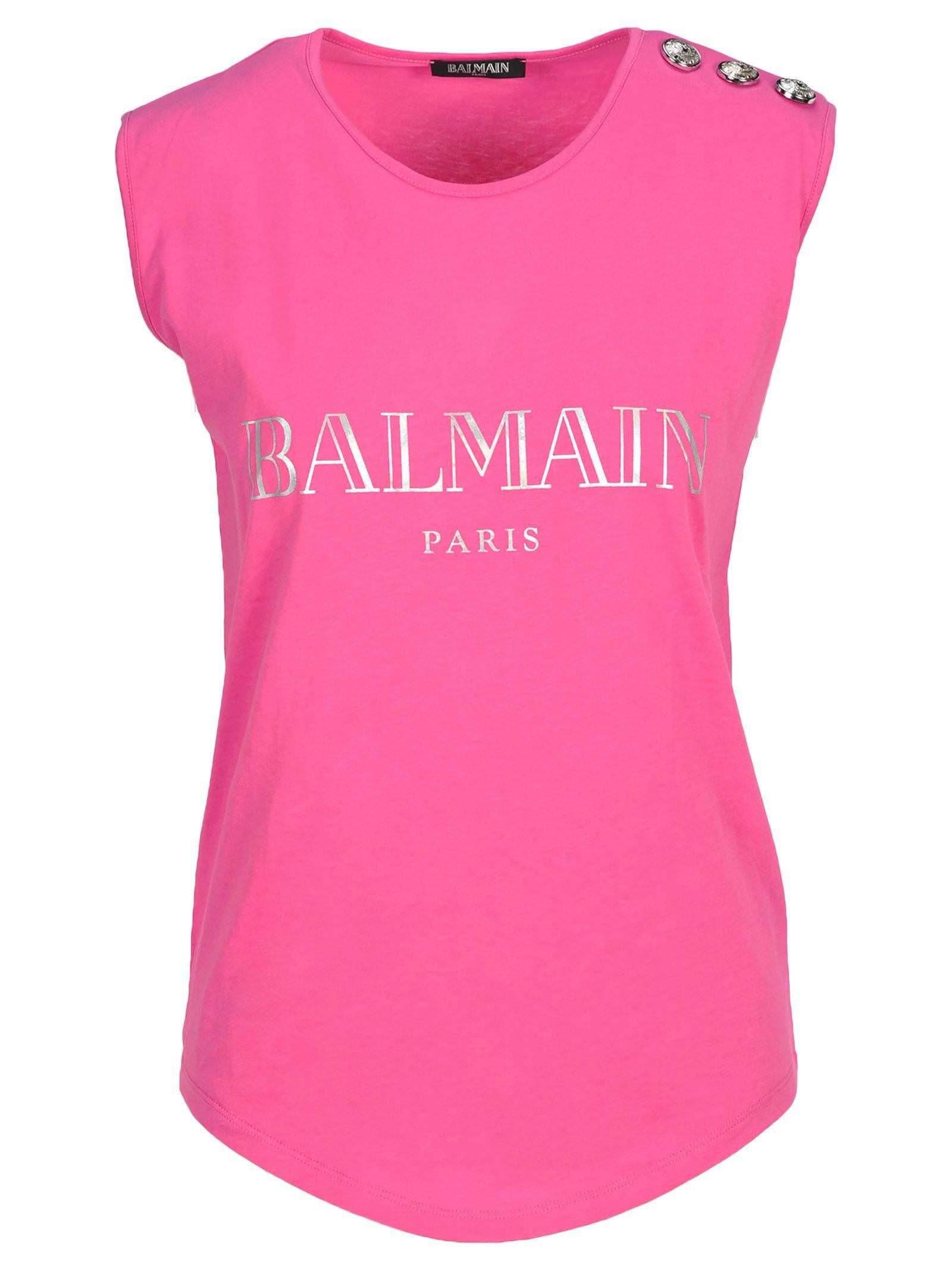 Balmain Tshirt Top Logo In Rose