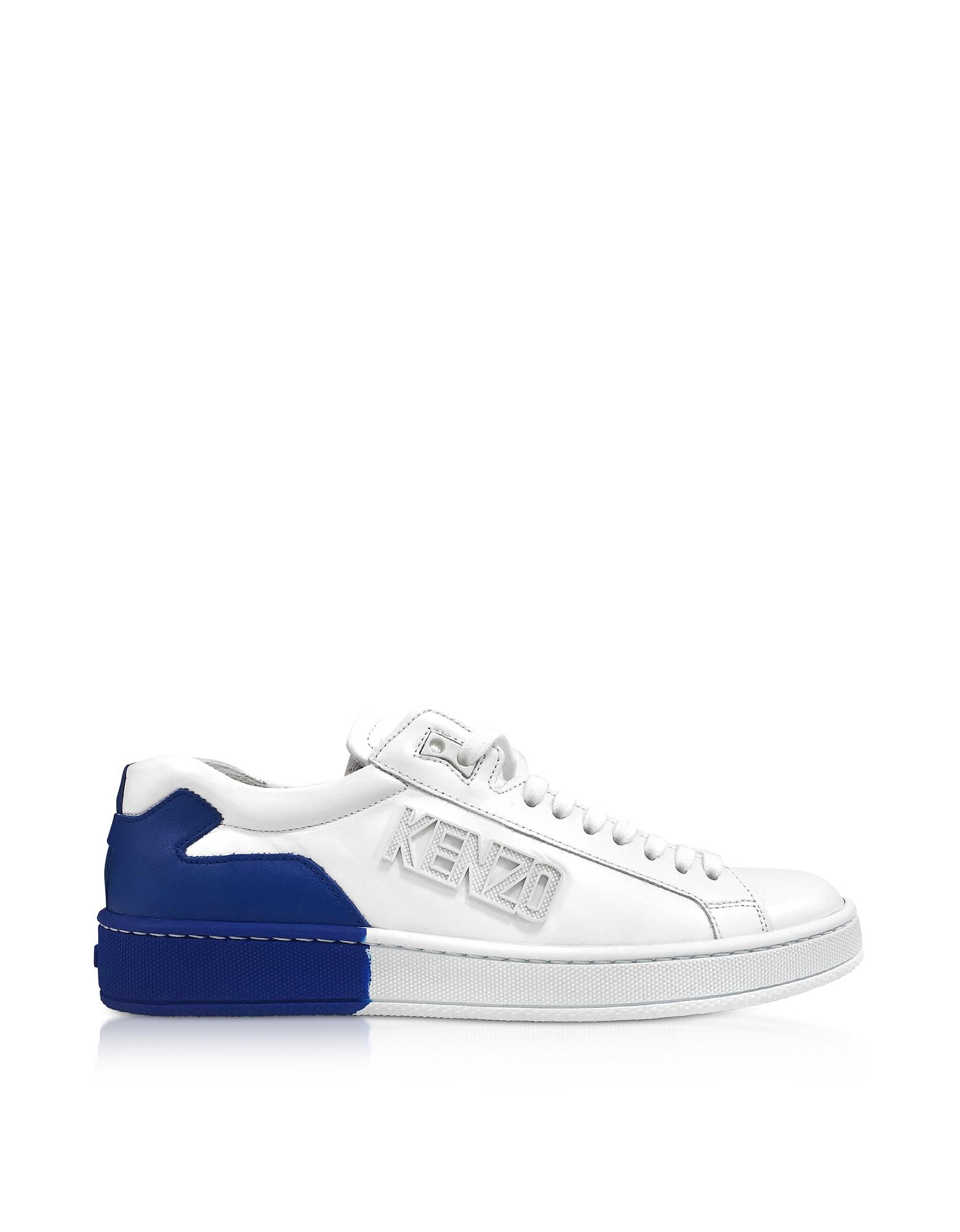 Kenzo White And French Blue Tennix Sneakers