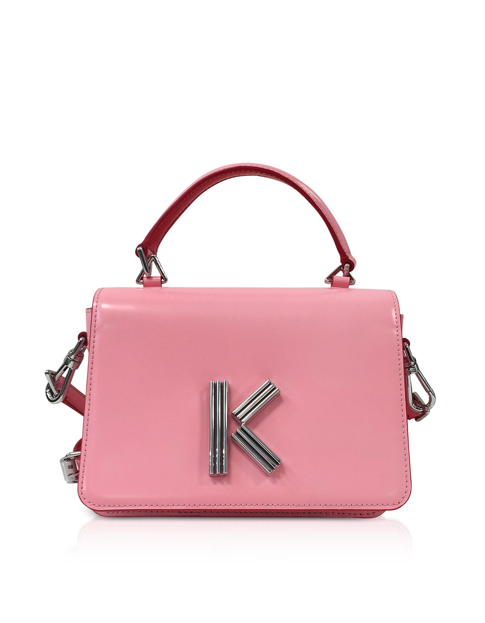 Kenzo Medium Faded Pink Leather Crossbody K-bag
