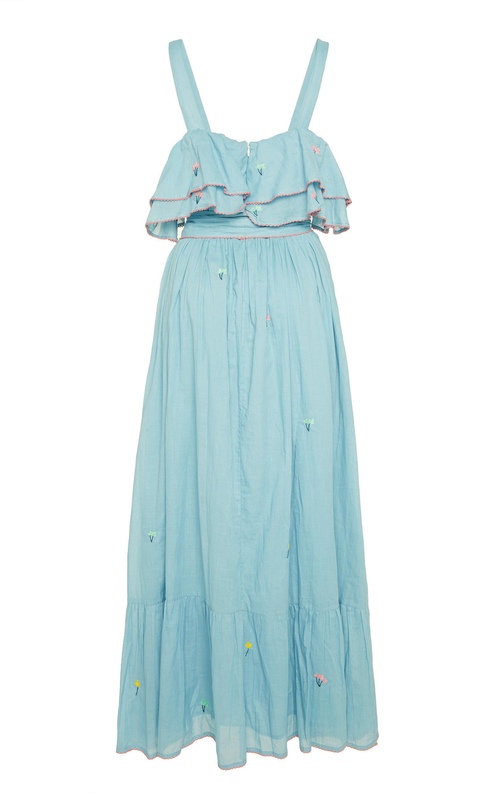 Banjanan Sintra Embroidered Cotton Maxi Dress In Blue
