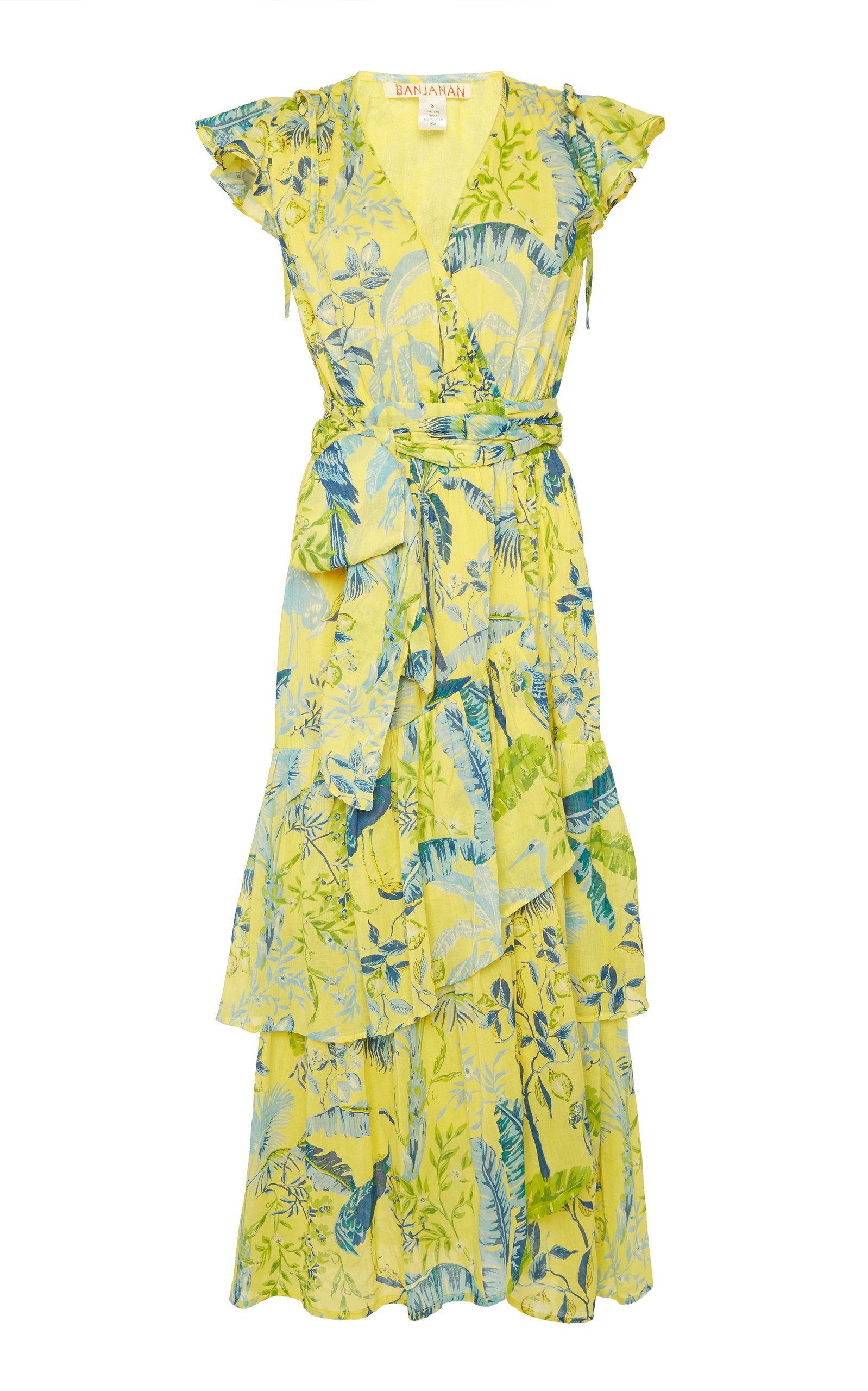 Banjanan Mercy Ruffled Printed Cotton Midi Dress In Yellow