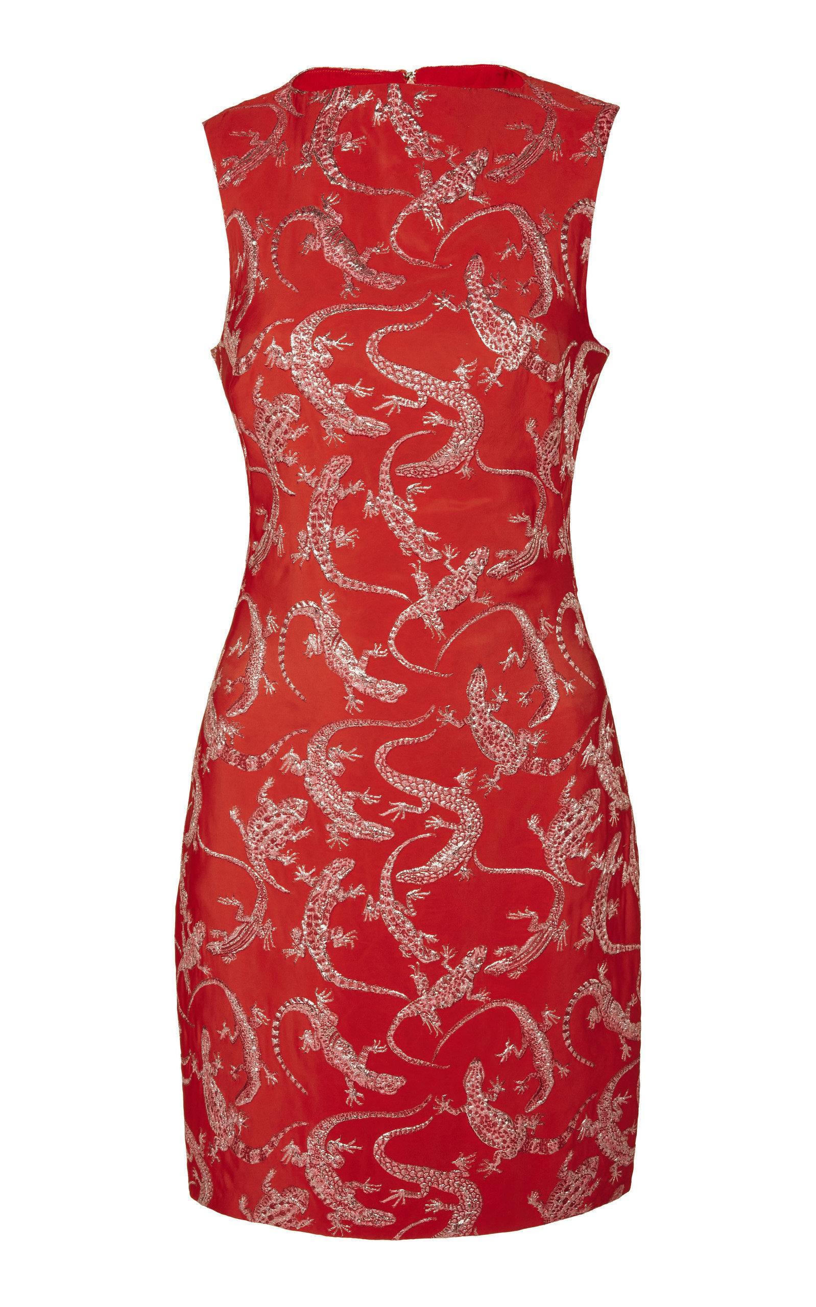 Brandon Maxwell Lizard Jacquard Mini Dress In Red