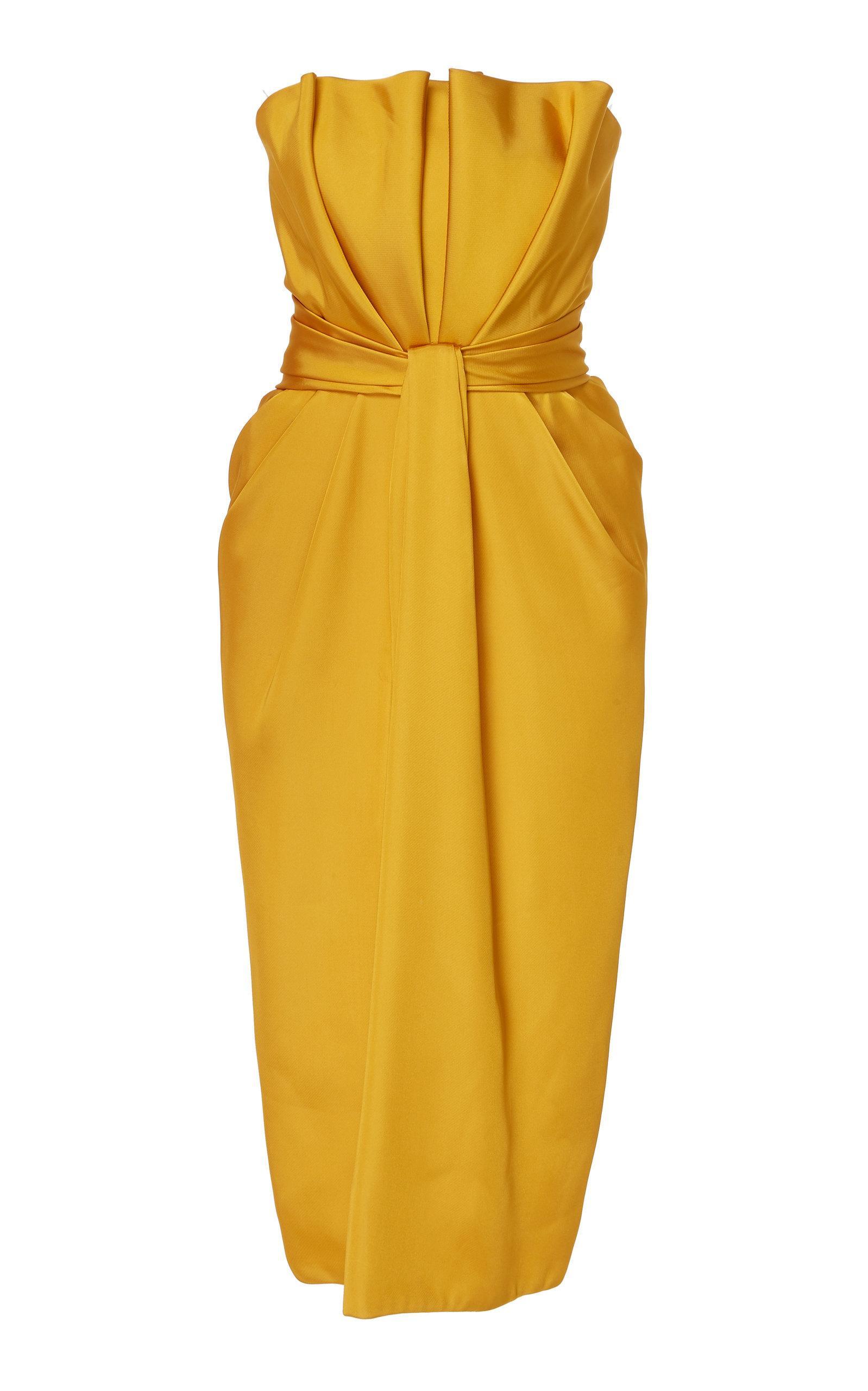 5f6bd1185b1 Brandon Maxwell Petal Front Satin Cocktail Dress In Yellow. Moda Operandi