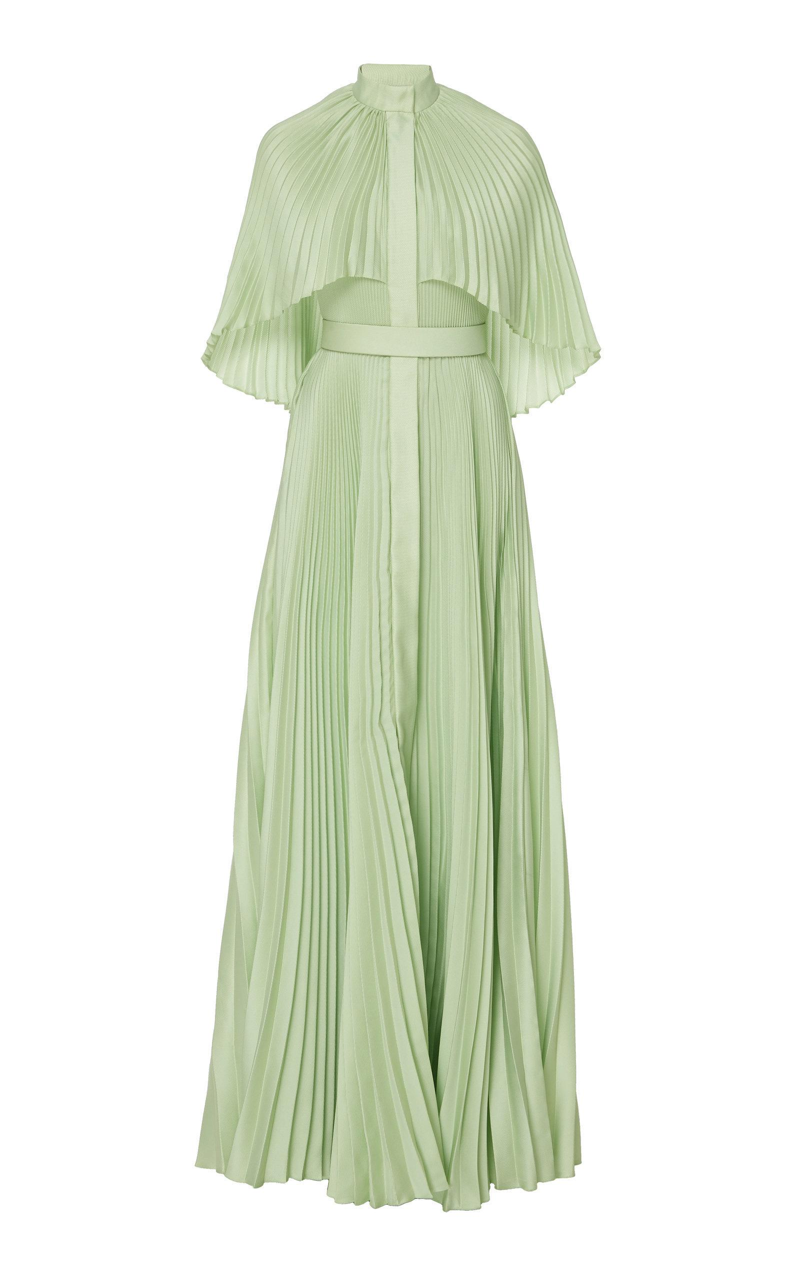 Brandon Maxwell Pleated Capelet Gown In Green